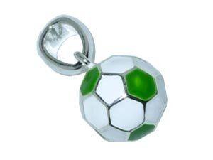 CB-Sportsfashion Anhänger versilbert, Fussball 12mm grün/weiss