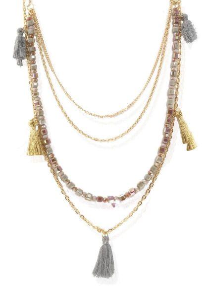 Gliederkette Fantasie, ca.80cm lang, mehrreihig mit Glaswürfeln und Quasten, taupe-gold
