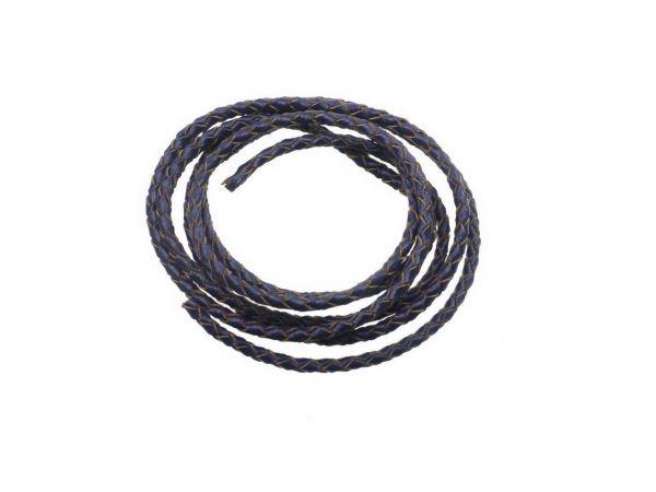 Lederschnur 3mm, geflochten, 1,00m, dunkelblau
