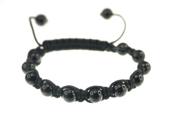 Shamballa Armband schwarz, mit 11 Onyx Perlen 8mm