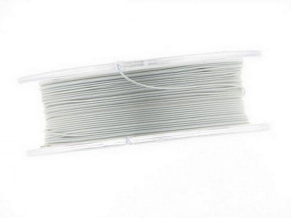 0,4mm Schmuckdraht, nylonummantelt, 100m Rolle pearl silver