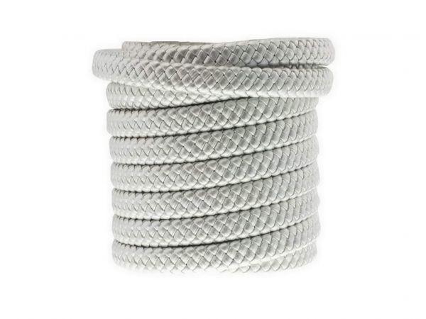 Kunstlederschnur geflochten flach, ca. 5x10mm, 1m, silber
