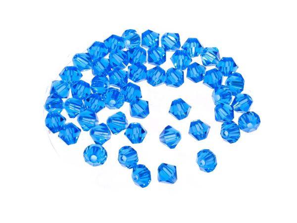 Kristallperlen, Doppelkegel, konisch, 50 Stück, 4mm sapphire