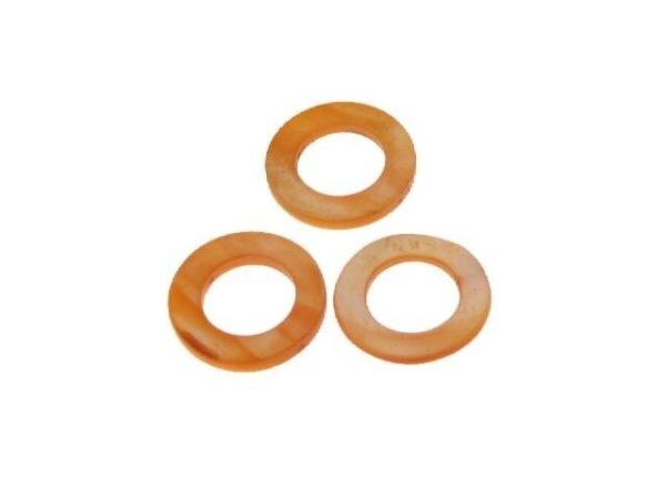 Perlmutt Rund So.-Preis II.Wahl 25mm Strang ca. 40cm, ca. 16 Stck orange