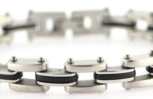 Edelstahl Armband II Stahl/Kautschuk ca. 21,5cm lang, 10mm breit
