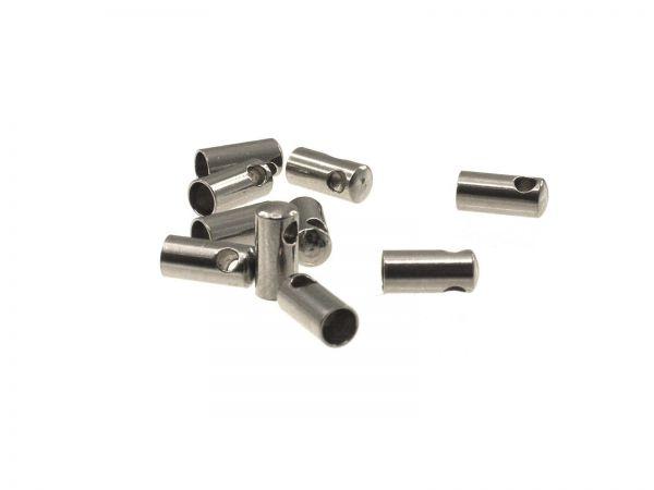 Edelstahl Endkappe für Schnüre 10Stück Innendurchmesser 2mm, quer gebohrt