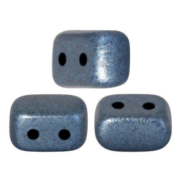 IOS® PAR PUCA® 4x10 mm, 10gr. Btl, Glasperlen, 2 Bohrungen,metallic mat blue
