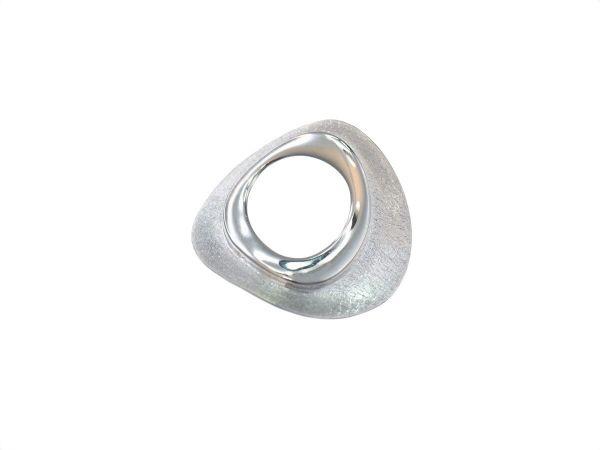 Sterlingsilber Anhänger 'Oval' , mattiert und glänzend, ca 38mm'