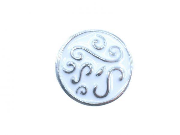 Click-it Button, Ornament, 18 mm, weiß