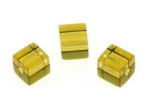 Crystal-Würfel, preiswerte Qualität, 4mm Strang , ca. 80 Stck , gelb