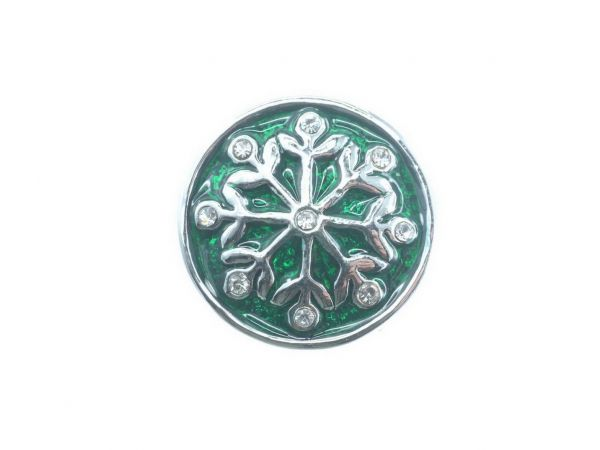 Click-it Button Snowflake, 18 mm, grün