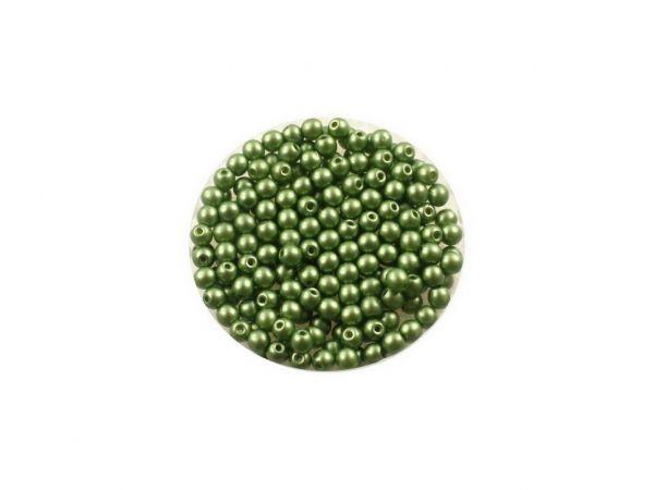 Glasperle, rund, 3mm, ca.200St. Dose, wachsfarben, olive