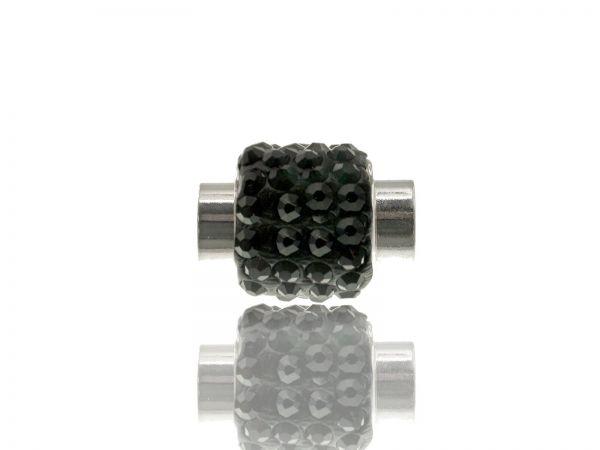 Magnetverschluss mit Strass, 12x15mm, innen 6mm, schwarz