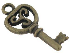 Metallzierteil Schlüssel 18mm antikmessing