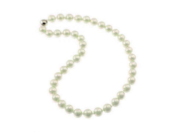 Muschelkernperlen Kette geknotet, 10mm Perle m. Magnetverschluss, ca.45cm, weiß