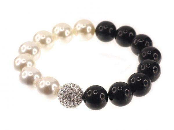 Muschelkernperlen Armband, schwarz-weiß, mit Diamond-Strasskugel crystal