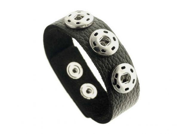 Click-it Button Lederarmband, 22 mm breit, 19-21 cm verstellbar, schwarz