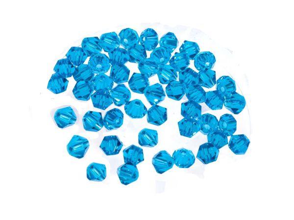 Kristallperlen, Doppelkegel, konisch, 50 Stück, 4mm, caribbean blue