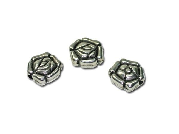 50 Stück Metalleffektperle Rose 10x9mm