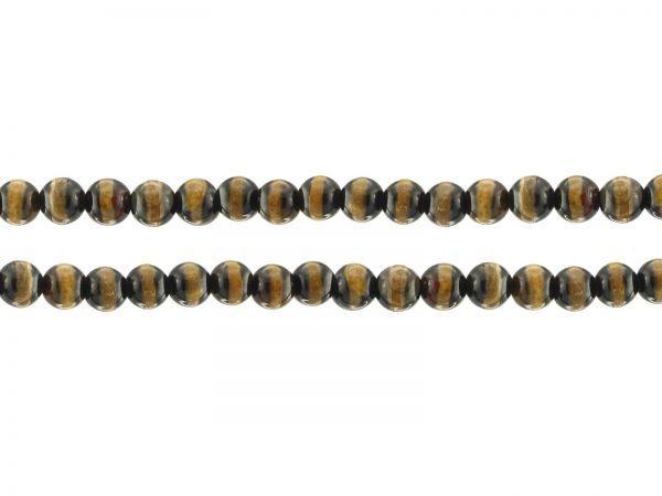 Tibet Achat,brauntöne, bemalt, Perlen, rund, 5mm, ca. 65St.