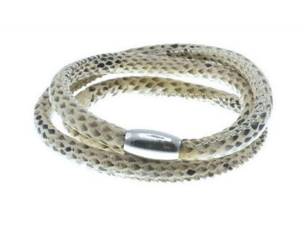 Slide-it Snake Kunstlederarmband, rund, 3fach, creme