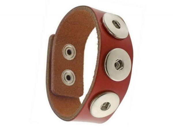 Click-it Button Lederarmband, rot, 24mm breit, 19,5-21cm verstellbar, für 18mm Buttons