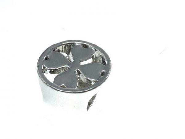 Slide-it Armbandelement, rhodiumfarbig, rund, 12mm Bohrung, Kleeblatt