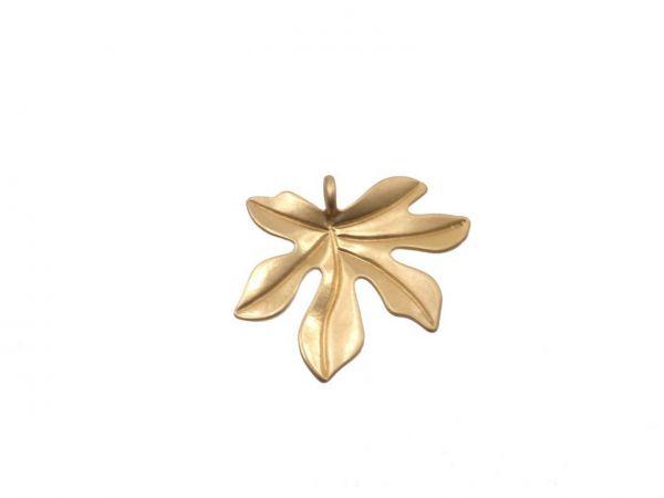 Metallanhänger Blatt 22mm, matt vergoldet