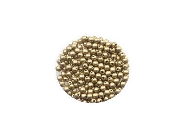 Glasperle, rund, 3mm, ca.200St. Dose, wachsfarben, gold