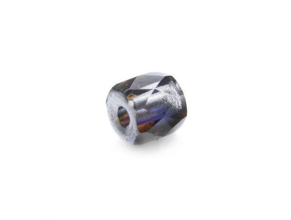 "Böhmische Glasperle ""Magic"" Trommel 7x8mm Bohrung 3mm silver"