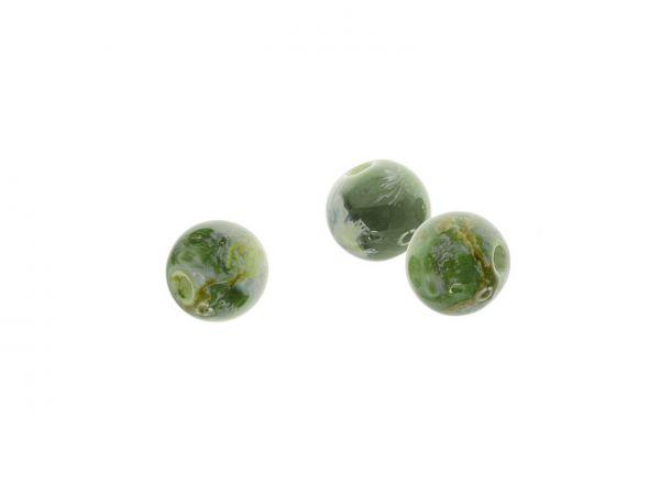 Keramikperlen marmoriert, 10mm, Bohrung 2mm, 10 Stck. Btl., grün