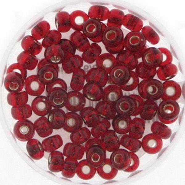 Rocailles 6/0 4mm 15 gr. Döschen, silbereinzug rot