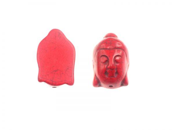 Buddhakopf, Türkis rec., gefärbt, 29x20x13mm, rot