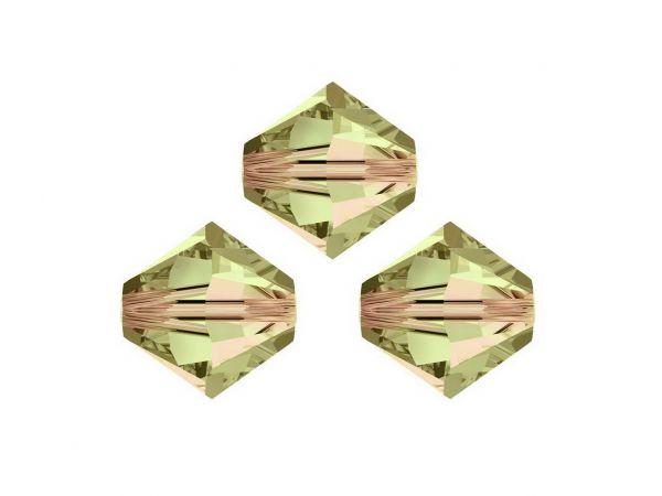 Swarovskiperlen, Doppelkegel, konisch, 5328, 6mm, 50Stück, luminous green