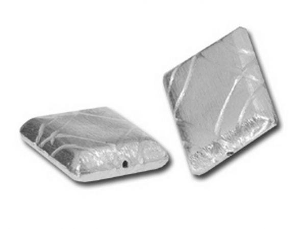 10 Stück Silbereffekt Element Rechteck 28x24mm, Bohrung 1.2mm