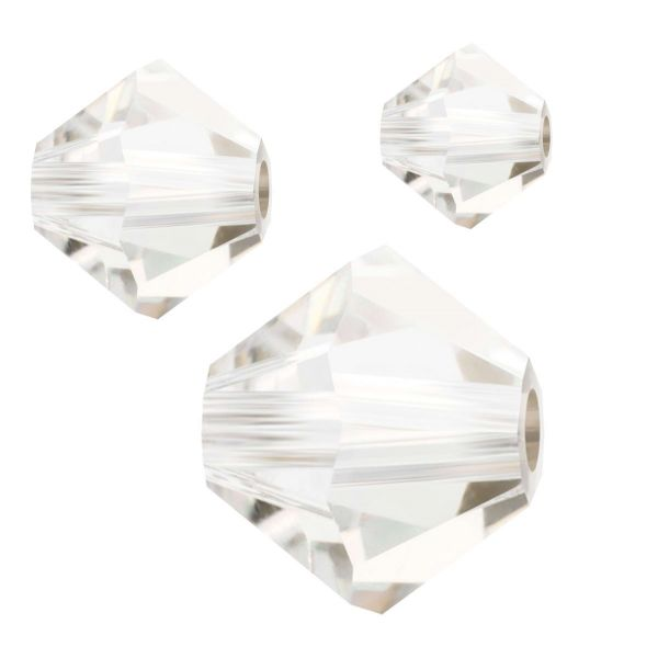 Preciosa Kristall Doppelkegel 4mm 50St., crystal Argent Flaire