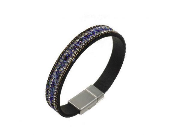 Alcantara Armband mit glitzernden Strasssteinen, ca.10mm breit, 18,5cm lang, mit Magnetverschluss, lila