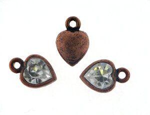 Anhänger antikkupfer Herz 10x12mm m. Swarovski Crystal cryst