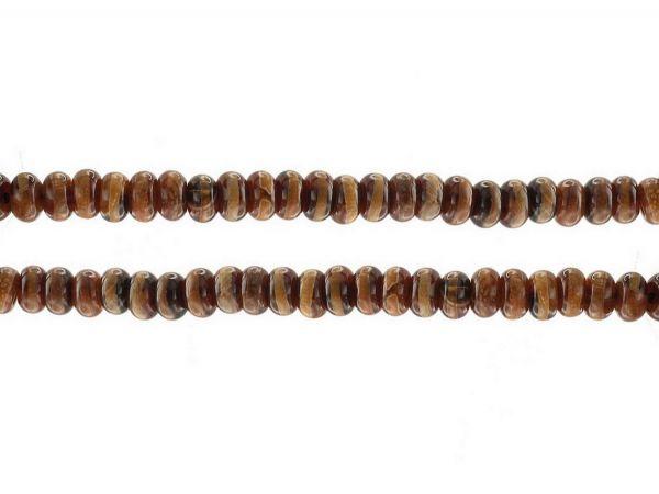 Tibet Achat,brauntöne, bemalt, Perlen, rondell 5x8mm, ca 60St.