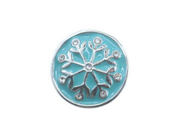 Click-it Button Snowflake, 18 mm, türkis