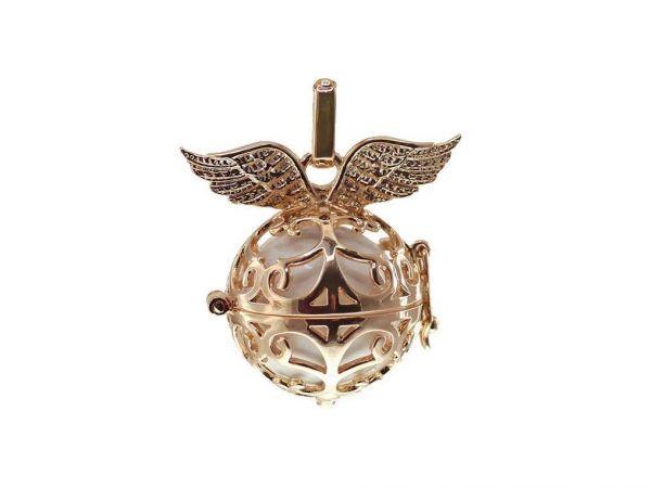 Engelsklingel Anhänger, kleiner Flügel, ca. 24mm, rosegold, ohne Klangkugel