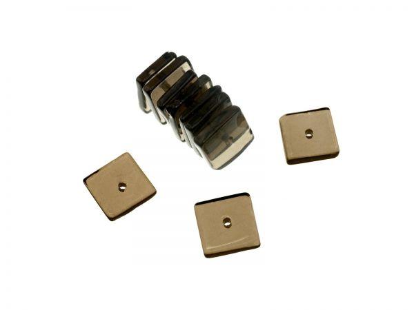 Rauchquarz Quadrat ca. 8x8mm, ca.1,5mm dick, Bohrung ca.0,6mm, Packung 10 Stück
