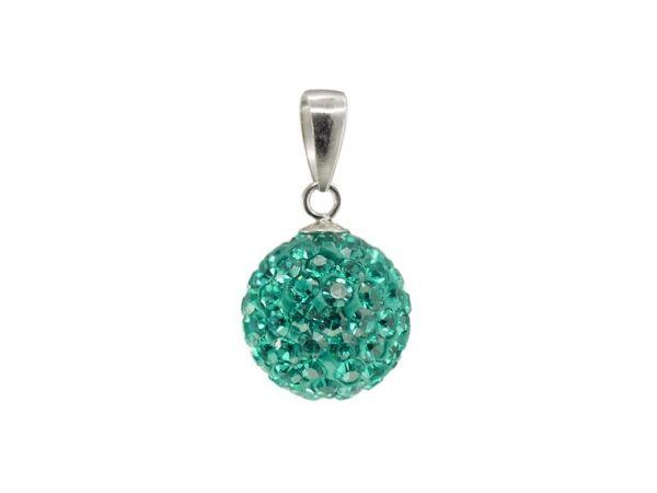Anhänger 'Diamondball' 10mm blue zirkon