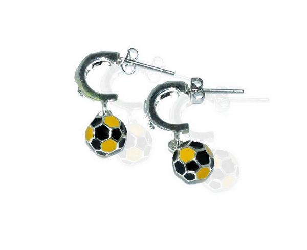 CB-Sportsfashion Ohrrring versilbert,Creole 12mm mit Fussball 8mm schwarz/gelb