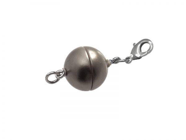 Magnetverschluss rund 10mm, mit Edelstahl Karabiner und Öse, granit