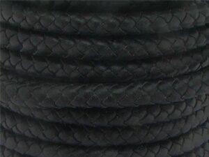 Lederschnur geflochten, 4,0mm, Rolle 25m, schwarz