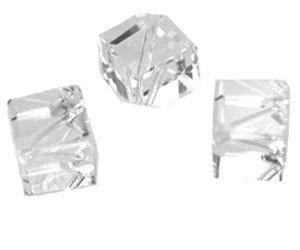 Swarovski Perle, Würfel, diagonal gebohrt, 3 Stück, 8mm, white alabaster