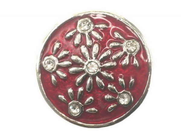 Click-it Button Blumenwiese, 18 mm, rot