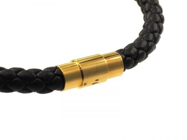 Lederarmband Edelstahl, ca 21cm lang, rundes, geflochtenes Leder 5mm, vergoldet, Edelstahl Magnetver