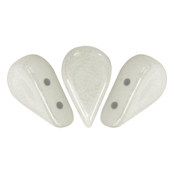 AMOS® PAR PUCA® 5x8mm 10gr. Glasperlen 2 Bohrungen, opaque white ceramic look